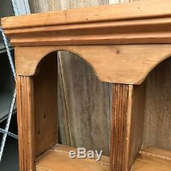 Charming Solid Vintage Country Farmhouse Pine Wall Plate Rack With Two Drawers