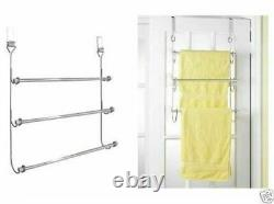 Chrome Plated 3 Tier Over Door Towel Rail Hanger Holder Tidy Stand Rack Airer