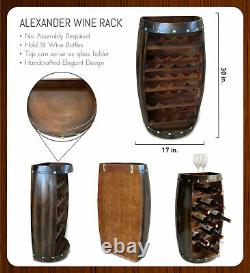 CoTa Global Alexander Wall Mounted Wine Rack Wooden Barrel 18 Wine Bottles