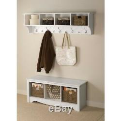 Coat Rack Hanging Entryway Shelf Wall Mount Bag Hat Key Organizer Storage White