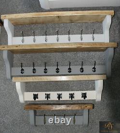 Coat Rack & Shelf Solid Wood Country Farmhouse Medium Oak Farrow & Ball 90cm