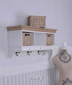 Coat Rack Wall Mounted Hook Shelf Shabby Kitchen Shelves Cottage Baskets
