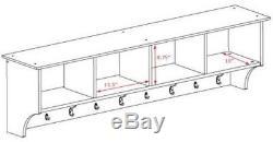 Coat Rack Wall-Mounted Storage Shelf Rack Entryway Mudroom Hanging Rail System