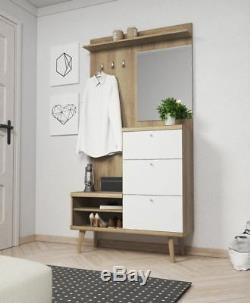 Coat rack hook hanger storage shoe hallway bench cabinet with mirror furniture