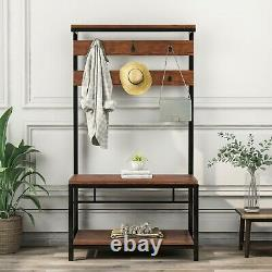 Coat rank Shoe Rack Hanging Bench Seat Hanger with Removable 6 Hooks Wood