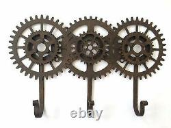 Cog and Gears Triple Hooks Industrial Vintage Steampunk Style Metal Coat Rack