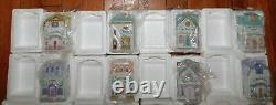Complete New Set Lenox 24 Village Spice Jars Houses & Wooden Spice Rack Holder