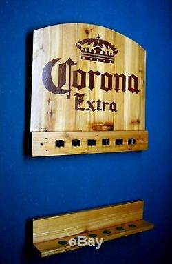 Corona Extra Billiards Pool Table Light Lamp & Wall Mount Pool Cue Rack Combo
