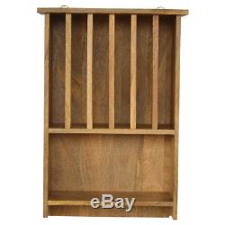 Country Farmhouse Wall Mounted Plate Rack Hand Crafted Solid Wood Rustic Rack