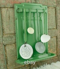 DUTCH Enamel Spoon Rack Enamelware wall mounted Utensil Holder Resedagreen