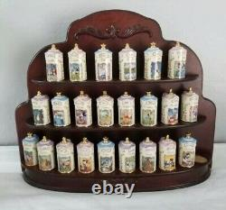 Disney Lenox Spice Canisters With Wooden display Rack