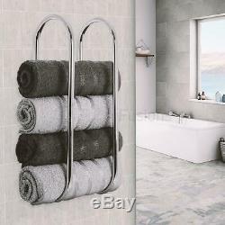 Double Chrome Wall Mounted Bathroom Towel Rail Holder Storage Rack Shelf Bar