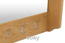 Dovedale Oak Hall Bench Top / Rustic Coat Rack with Mirror / Hanging Storage