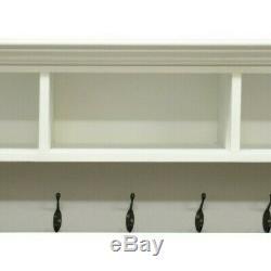Earle White Large Coat Rack / Hallway Hanging Jacket Storage / Porch Cupboard