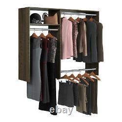 Easy Track Hanging Closet Kit Wardrobe Storage Clothing Organizer Rack, Truffle