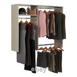 Easy Track Hanging Closet Kit Wardrobe Storage Organizer Rack, Weathered Grey