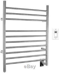 Electric Towel Warmer Rack Timer Wall Mount 10 Bar Hardwired Bathroom Spa Pool
