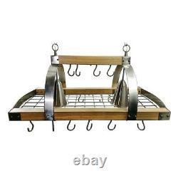 Elegant Designs Hanging Pot Rack Adjustable Height Downlight Metal Frame 2-Light