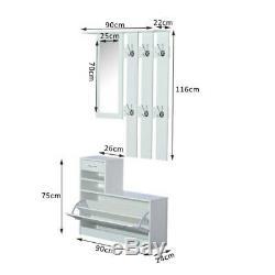Entryway Coat Rack Shoe Storage Organizer Bench Mirror Hallway Cabinet Furniture