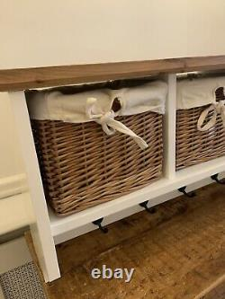 Entryway Coat Rack Wall Mounted Shelf withWicker Basket. 6 Hooks 4 Baskets