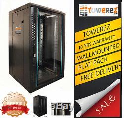 FLAT PACK 18U SERVER RACK 19 INCH 600 (W) x450 (D) x 1000 (H) NEW wallmounted