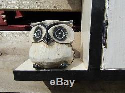 Fair Trade Hand Made Carved Owl Bird Key Wall Cabinet Rack Hook Holder Box