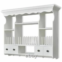 Farmhouse Wall Cabinet Kitchen Storage Dish Rack Towel Holder Antique White Look