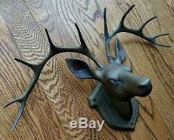 Figural Brass Hat Coat Rack 10Pt Buck Wall Mount Stag Hook Cabin Hunters Den 17