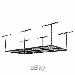 Fleximounts 4x8 Foot Adjustable Overhead Garage Storage Ceiling Rack, Black
