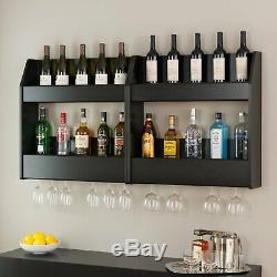 Floating Wine Liquor Rack Bottle Glass Holder Wall Mount Display 2 Shelves Wood