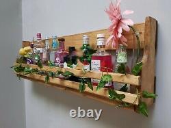Floating gin and tonic spirit rack cast iron glass holder with bottle shelf