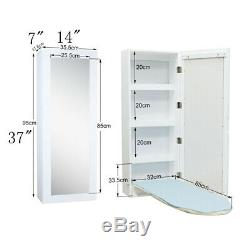 Foldable Ironing Boards Wall Mounted Built-in Storage Rack Mirror Door White