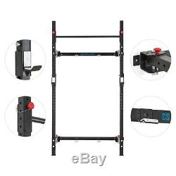 Foldable Power Rack Chin Up Bar Wall Mounted J Cups 200kg Weight Home Gym J Cups