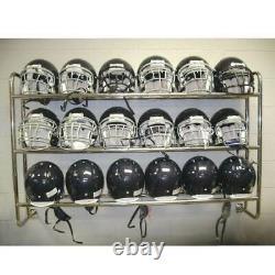 Football Helmet Storage Rack Wall Mounted Holds 18 Helmets