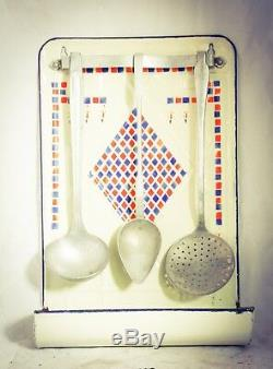 French Enamel Spoon Utensils Rack with Spoons Enamelware wall mounted