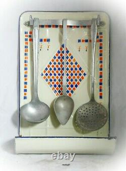 French Enamel Spoon Utensils Rack with Spoons Enamelware wall mounted