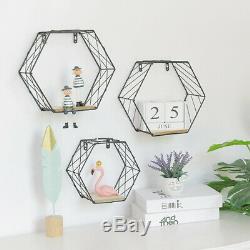 Geometric Hexagon Metal Wall Wire Shelf Storage Holder Wood Rack-Shelves Modern