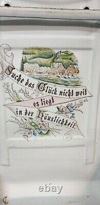German Enamel Spoon Rack Enamelware wall mounted Utensil Holder. Nice Decorated