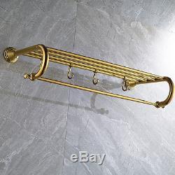 Golden Solid Brass Bathroom Towel Rack Holder Wall Mounted Towel Rail Bar Hooks