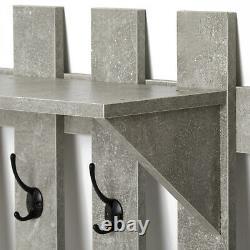 Grey Coat Rack 5 Hook Stand Shoe Storage Bench Organiser with Mirror Hallway