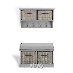 Grey Hallway Set Storage Bench and Coat Rack Hanging Shelf TETBURY Furniture