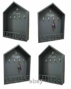 Grey House Shape Letter Rack & Key Holder Hooks Shabby Chic Wall Mounted Storage
