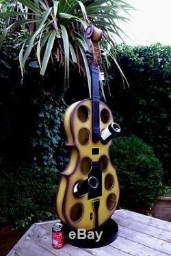 Guitar shaped wine 10 bottle holder rack unique design home cottage loft nice