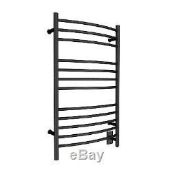 HEATGENE Towel Warmer for Bathroom Plug-in/Hardwired Drying Rack Matte Black
