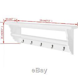 Hallway Coat Hook Rack Rail 5 Hooks 1 Shelf Storage Unit Wall Mounted Organiser