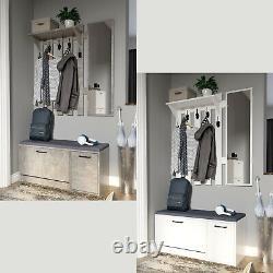Hallway Coat Rack 5 Hook Stand Shoe Storage Bench Organiser with Mirror 2 Colour