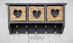 Hallway hanging shelf with coat rack and storage wicker baskets Shabby Chic GREY