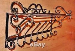 Hand Forged Steel Hange Wall Mounted Coat Hooks Rack Shelf Storage Unit Hat Rack