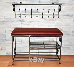 Hand Forged Steel Hange Wall Mounted Coat Hooks Rack +shelf, Unique gift CUSTOM