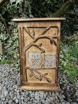 Hand Made Carved Mango Wood Wooden Owl Key Cabinet Rack Hook Holder Box